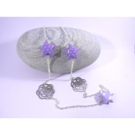 Sautoir Origami Voie Lactée violet avec pois et trèfles