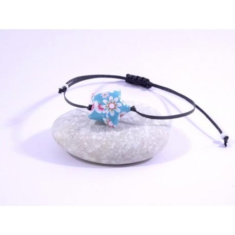 Bracelet Origami Etoile Solitaire turquoise avec fleurs japonaises