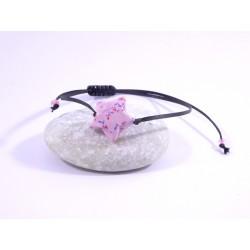 Bracelet Origami Etoile Solitaire rose avec fleurs rouges