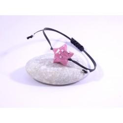 Bracelet Origami Etoile Solitaire rose avec fleurs blanches