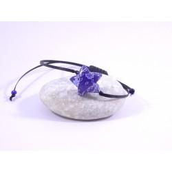 Bracelet Origami Etoile Solitaire bleu roi avec fleurs japonaises