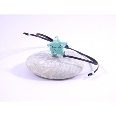 Bracelet Origami Etoile Solitaire vert d'eau avec fleurs japonaises