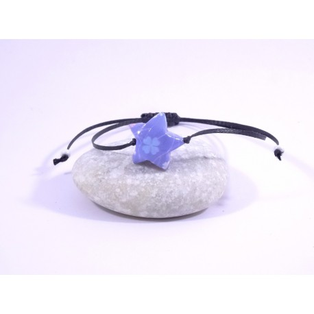 Bracelet Origami Etoile Solitaire parme avec trèfles