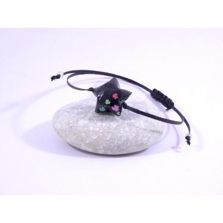 Bracelet Origami Etoile Solitaire noir avec feuilles multicolores