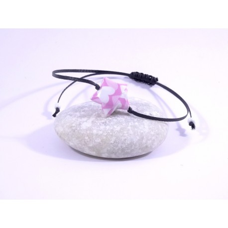 Bracelet Origami Etoile Solitaire rose avec coeurs