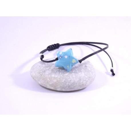 Bracelet Origami Etoile Solitaire bleu avec feuilles multicolores
