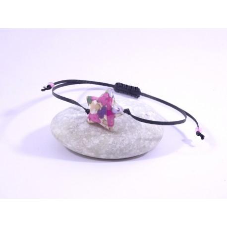 Bracelet Origami Etoile Solitaire fleurs multicolores