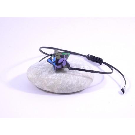 Bracelet Origami Etoile Solitaire noir avec fleurs multicolores