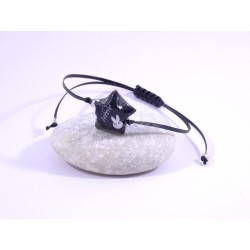 Bracelet Origami Etoile Solitaire noir avec ours japonais