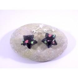 Boucles Origami Nova noir avec feuilles multicolores
