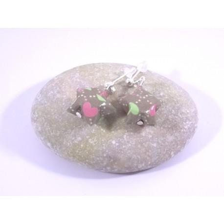 Boucles Origami Nova gris avec cœurs roses et verts