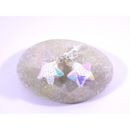 Boucles Origami Nova blanc avec cœurs multicolores