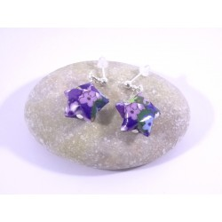 Boucles Origami Nova bleu avec fleurs violettes