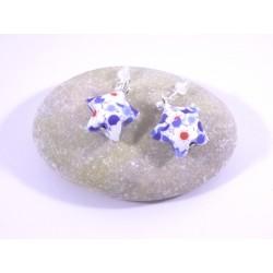 Boucles Origami Nova blanc avec fleurs bleues