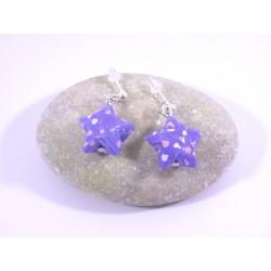 Boucles Origami Nova violet avec fleurs roses et blanches