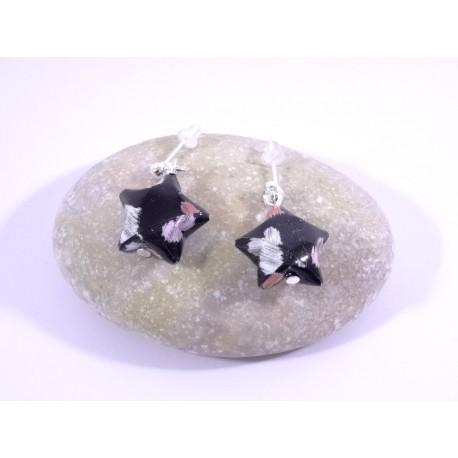 Boucles Origami Nova noir avec cœurs rouges et blanc