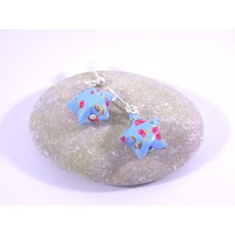Boucles Origami Nova bleu ciel avec fleurs roses