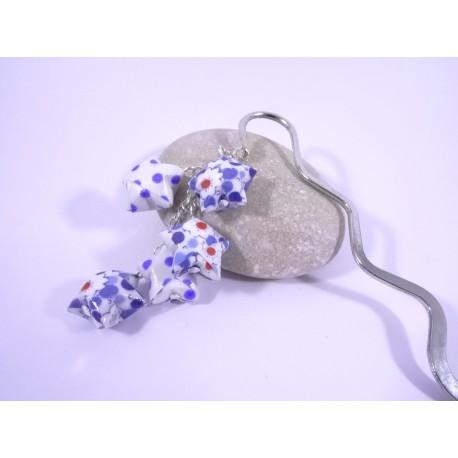 Marque-Page Origami Constellation bleu et blanc avec fleurs et pois