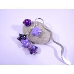 Marque-Page Origami Constellation violet foncé avec fleurs