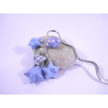 Marque-Page Origami Constellation bleu avec fleurs et pois