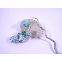 Marque-Page Origami Constellation bleu et vert avec fleurs
