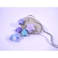 Marque-Page Origami Constellation bleu et violet avec fleurs