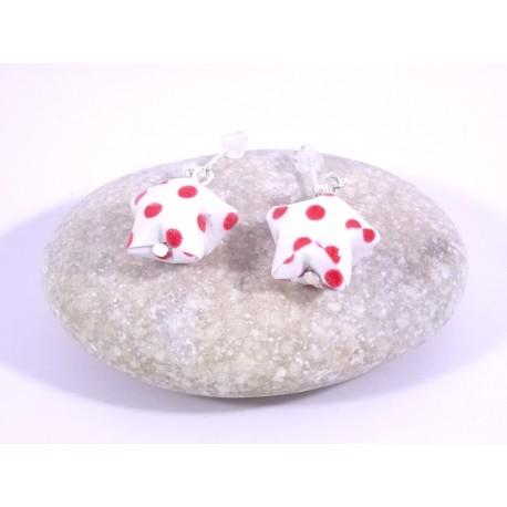 Boucles Origami Nova blanc avec pois rouges