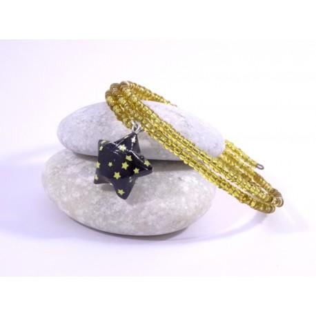 Bracelet Origami Tornade Etoile et Perles or avec étoiles