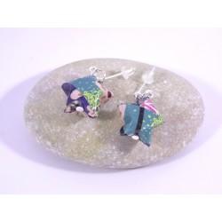 Boucles Origami Nova motif japonisant bleu foncé