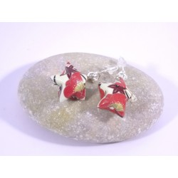 Boucles Origami Nova blanc avec fleurs rouges japonaises