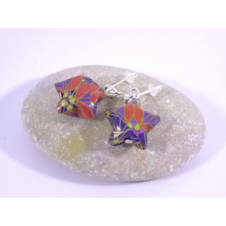 Boucles Origami Nova motif japonisant violet et rouge