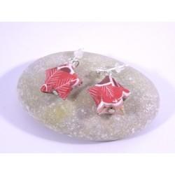 Boucles Origami Nova motif japonisant rouge