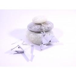 Boucles Oiseaux Origami blanc avec notes noires