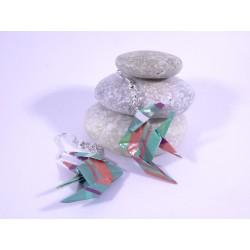 Boucles Poissons Origami motif géométrique turquoise