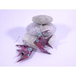 Boucles Poissons Origami violet avec fleurs multicolores