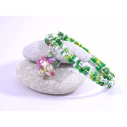 Bracelet Origami Tornade Etoile et Perles vert avec fleurs multicolores