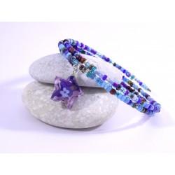 Bracelet Origami Tornade Etoile et Perles violet bleu avec fleurs multicolores