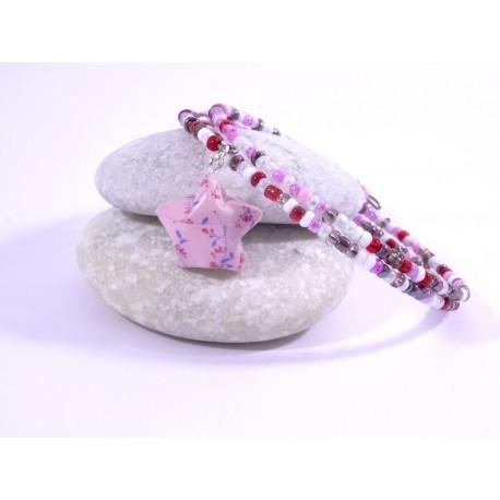 Bracelet Origami Tornade Etoile et Perles rose et rouge avec fleurs