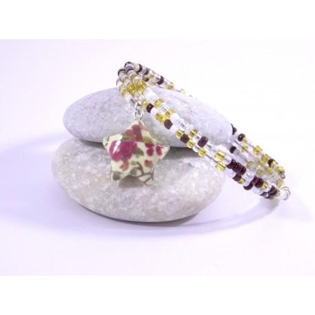 Bracelet Origami Tornade Etoile et Perles ambre avec fleurs