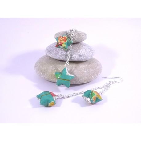 Boucles Origami Duo Céleste vert turquoise avec fleurs japonaises