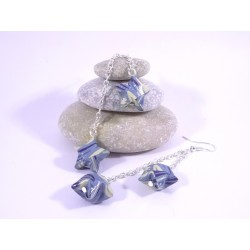 Boucles Origami Duo Céleste bleu avec vagues blanches