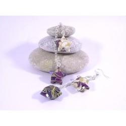 Boucles Origami Duo Céleste motif japonisant violet
