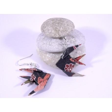 Boucles Poissons Origami rouge avec motifs japonais
