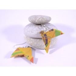 Boucles Oiseaux Origami motif géométrique orange