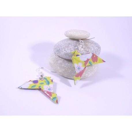 Boucles Oiseaux Origami jaune avec fleurs multicolores