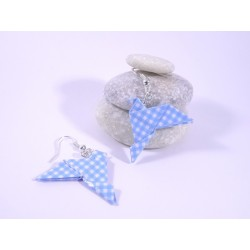 Boucles Oiseaux Origami bleu à carreaux blancs