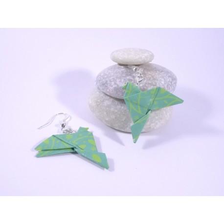 Boucles Oiseaux Origami vert avec arabesques