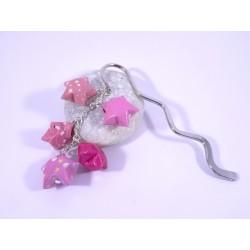 Marque-Page Origami Constellation rose avec pois et fleurs
