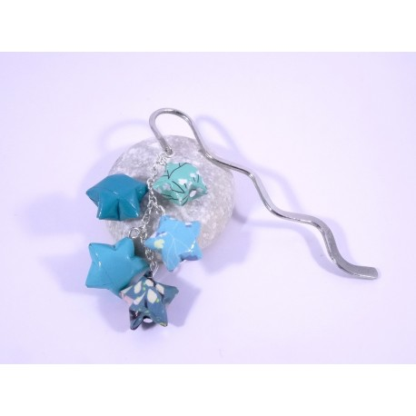 Marque-Page Origami Constellation turquoise avec fleurs