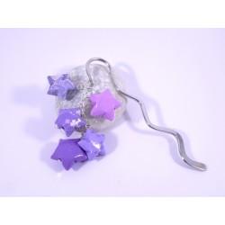 Marque-Page Origami Constellation violet avec trèfles et étoiles